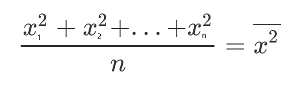Sum of x² divided by n