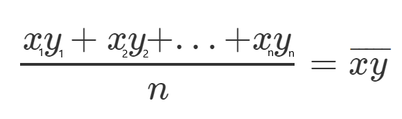Sum of xy divided by n