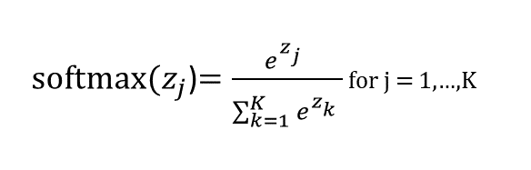 equation of the SoftMax function