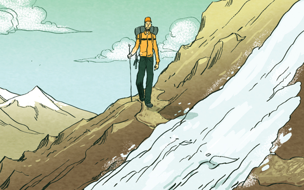 A hiker getting down from a mountain