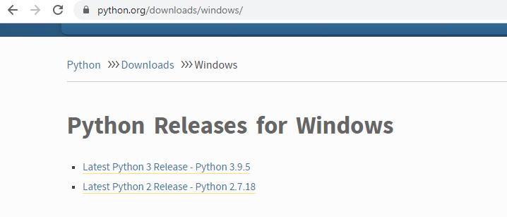 Python Windows Setup download page | insideaiml