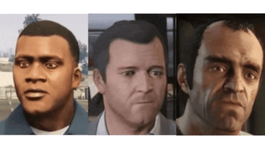 Face images produced using the First Order Motion Mode (Virtual characters from the game GTA V. Left: Franklin Middle: Michael Right: Trevor) | insideaiml